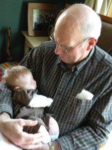 Grandpa Wilken holding Lillian