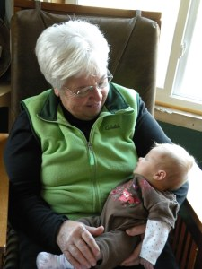 Grandma Wilken and Lillian smiling at each other!