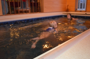 Last year Lillian was still waiting to go swimming.